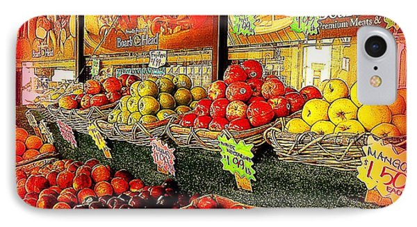 Apples And Plums In Red - Outdoor Markets Of New York City IPhone Case by Miriam Danar
