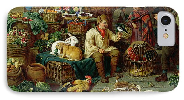 Market Scene IPhone Case by Henry Charles Bryant