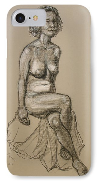 IPhone Case featuring the drawing Marli - Seated Nude by Donelli  DiMaria