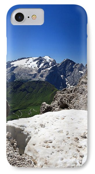 IPhone Case featuring the photograph Marmolada From Saas Pordoi by Antonio Scarpi