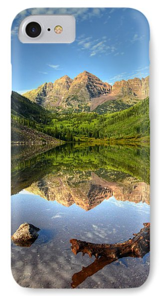 Maroon Bells And Maroon Lake IPhone Case by Ken Smith
