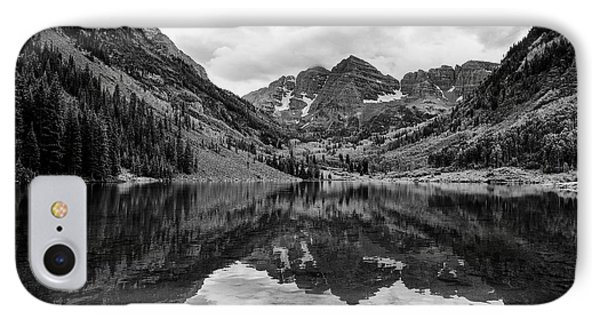IPhone Case featuring the photograph Maroon Bells - Aspen - Colorado - Black And White by Photography  By Sai