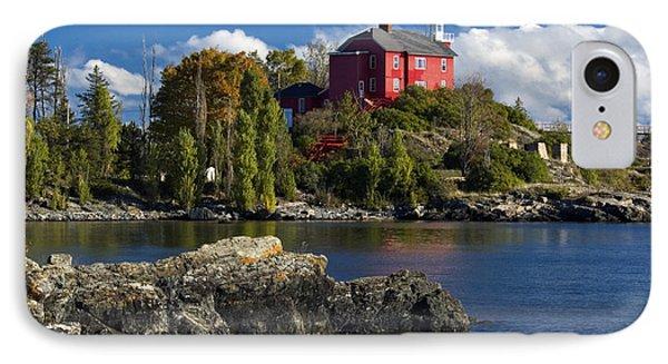 Marquette iPhone 7 Case - Marquette Harbor Light - D003224 by Daniel Dempster