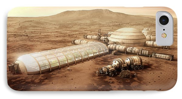 Mars Settlement With Farm IPhone Case