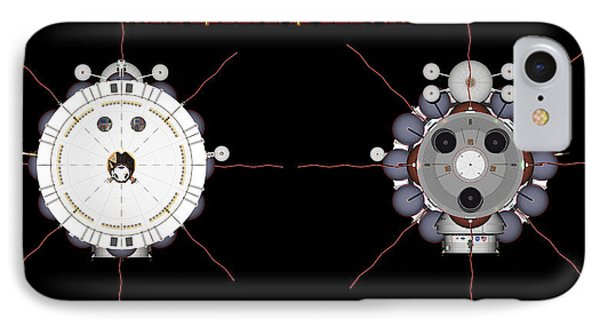 IPhone Case featuring the digital art Mars Spaceship Hermes1 Front And Rear by David Robinson