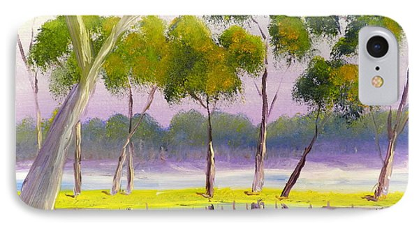 IPhone Case featuring the painting Marshlands Murray River Red River Gums by Pamela  Meredith