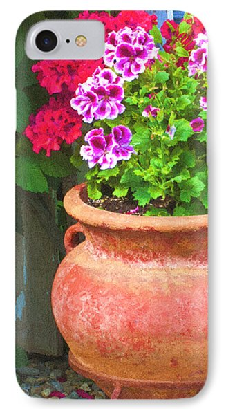 Martha Washington Geraniums In Textured Clay Pot Phone Case by Sandra Foster