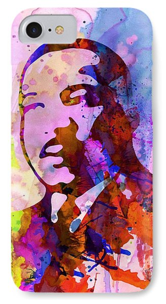Martin Luther King Jr Watercolor IPhone Case by Naxart Studio