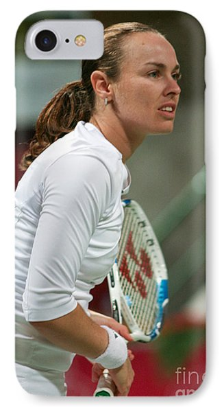 Martina Hingis In Doha IPhone Case by Paul Cowan