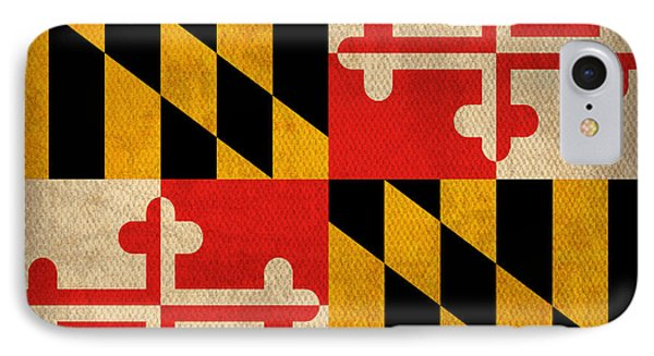 Maryland State Flag Art On Worn Canvas IPhone Case