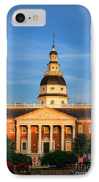 Maryland State House At Sunset IPhone Case by Olivier Le Queinec