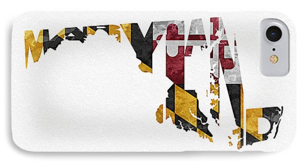 Maryland Typographic Map Flag IPhone Case by Ayse Deniz