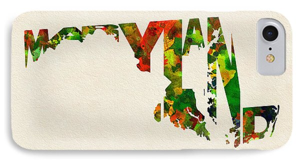 Maryland Typographic Watercolor Map IPhone Case by Ayse Deniz