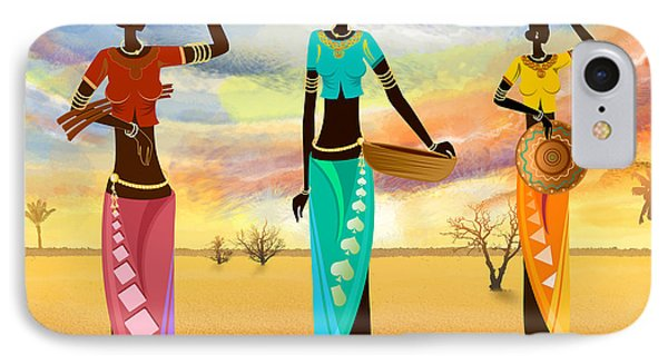 Masai Women Quest For Grains IPhone Case by Bedros Awak