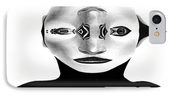 IPhone Case featuring the painting Mask Black And White by Rafael Salazar