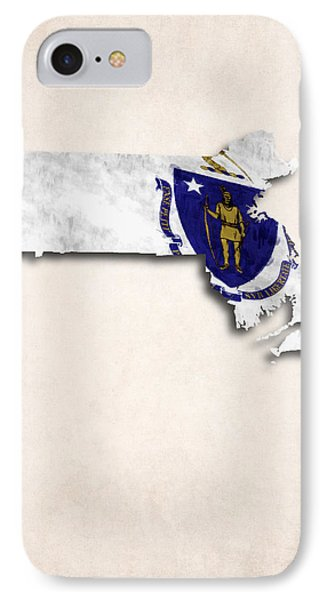 Massachusetts Map Art With Flag Design IPhone Case by World Art Prints And Designs