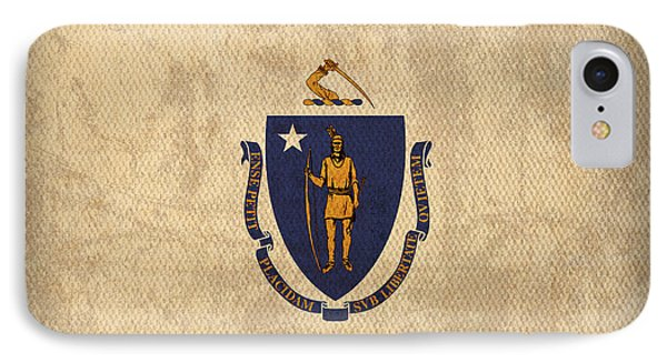 Massachusetts State Flag Art On Worn Canvas IPhone Case by Design Turnpike