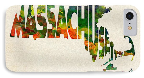 Massachusetts Typographic Watercolor Map IPhone Case by Ayse Deniz