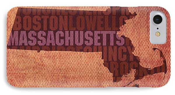 Massachusetts Word Art State Map On Canvas Phone Case by Design Turnpike