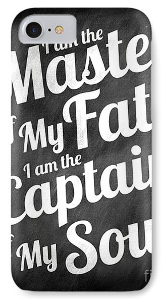Master Of My Fate - Chalkboard Style IPhone Case by Ginny Gaura