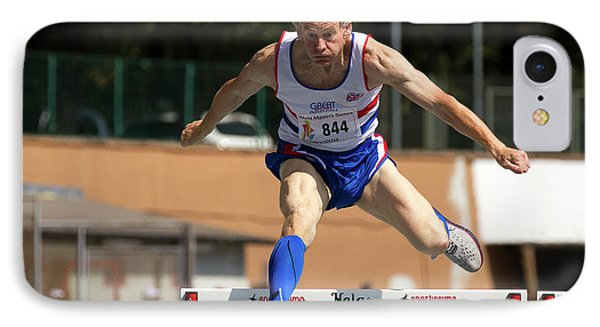 Masters British Athlete Clearing Hurdle IPhone Case by Alex Rotas