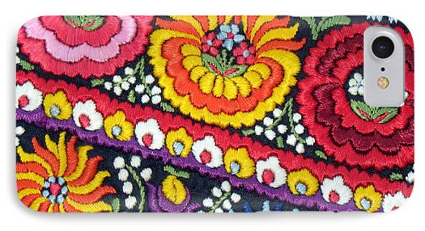 Hungarian Matyo Szentgyorgy Folk Embroidery Photographic Print IPhone Case by Andrea Lazar