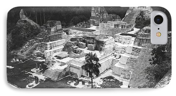 Mayan Ruins At Tikal IPhone Case by Underwood Archives
