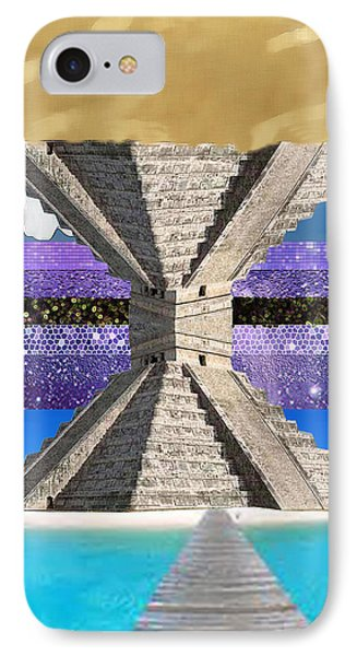 Mayan Temple Ships On 2 Worlds At Once Phone Case by Bruce Iorio
