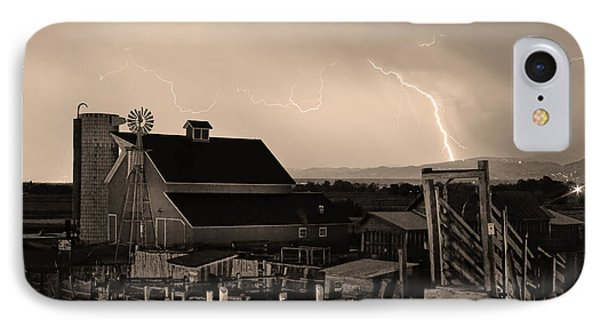 Mcintosh Farm Lightning Sepia Thunderstorm Phone Case by James BO  Insogna