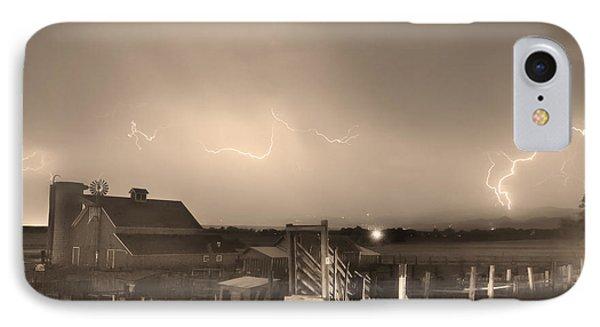 Mcintosh Farm Lightning Thunderstorm View Sepia Phone Case by James BO  Insogna