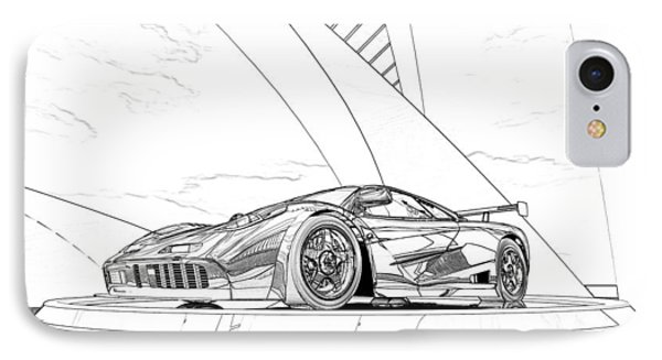 Mclaren F1 Sketch IPhone Case by Louis Ferreira