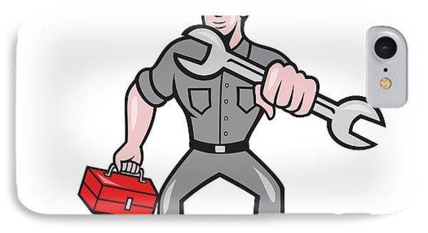 Mechanic Punching With Spanner Cartoon Phone Case by Aloysius Patrimonio