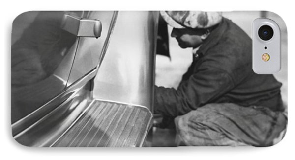 Mechanic Working On Car IPhone Case by Underwood Archives