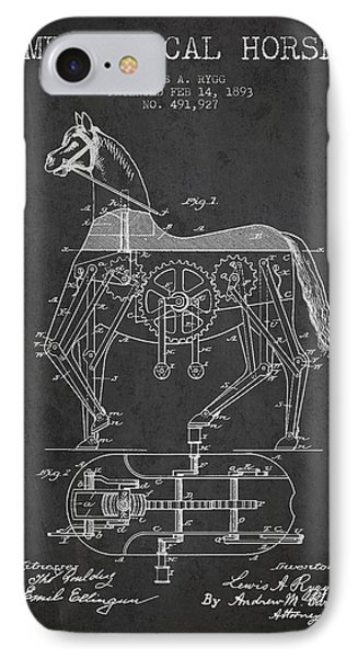Mechanical Horse Patent Drawing From 1893 - Dark Phone Case by Aged Pixel
