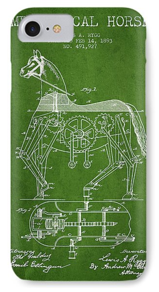 Mechanical Horse Patent Drawing From 1893 - Green IPhone Case by Aged Pixel