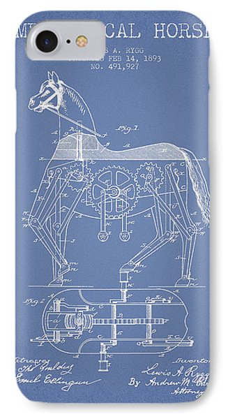 Mechanical Horse Patent Drawing From 1893 - Light Blue IPhone Case by Aged Pixel