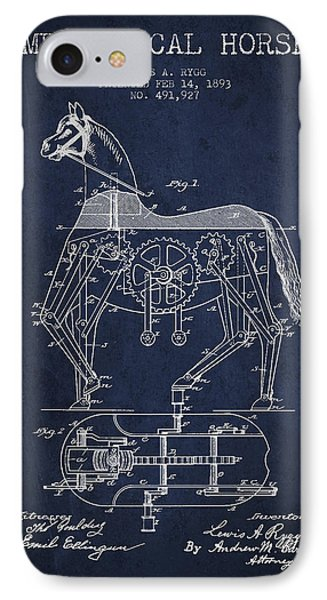 Mechanical Horse Patent Drawing From 1893 - Navy Blue Phone Case by Aged Pixel