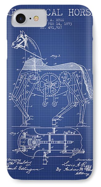 Mechanical Horse Patent From 1893- Blueprint IPhone Case by Aged Pixel