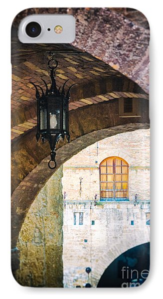 IPhone 7 Case featuring the photograph Medieval Arches With Lamp by Silvia Ganora