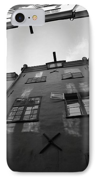 Medieval Houses Seen From Below - Monochrome IPhone Case