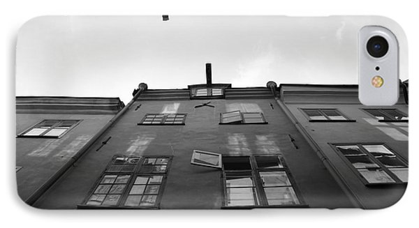 Medieval Houses With Open Window - Monochrome IPhone Case