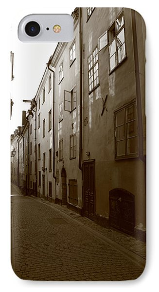 Medieval Street In Stockholm - Monochrome IPhone Case