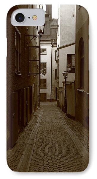 Medieval Street With Lantern - Monochrome IPhone Case