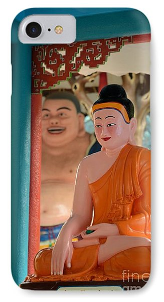 Meditating Buddha In Lotus Position Phone Case by Imran Ahmed