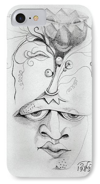 Meditation On The Crown Chakra Or Where Is Your Mind Going Surrealistic Fantasy Of Face With Energy  IPhone Case by Rachel Hershkovitz