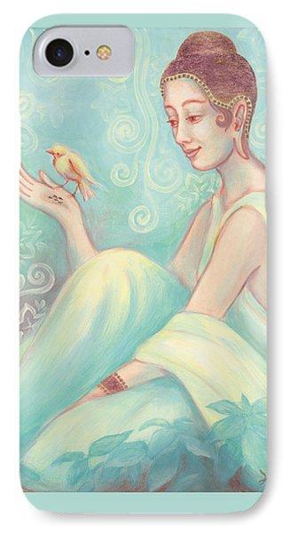 Meditation With Bird Phone Case by Judith Grzimek