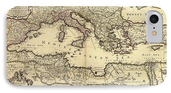 Mediterranean Sea IPhone Case by Library Of Congress, Geography And Map Division