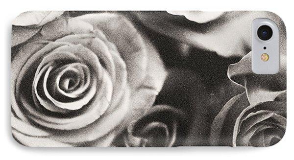 Medium Format Analog Black And White Photo Of White Rose Flowers Phone Case by Edward Olive