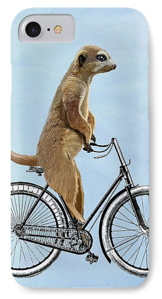 Meerkat On A Bicycle IPhone Case by Loopylolly