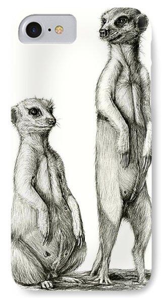 IPhone Case featuring the drawing Meerkatte by Heidi Kriel